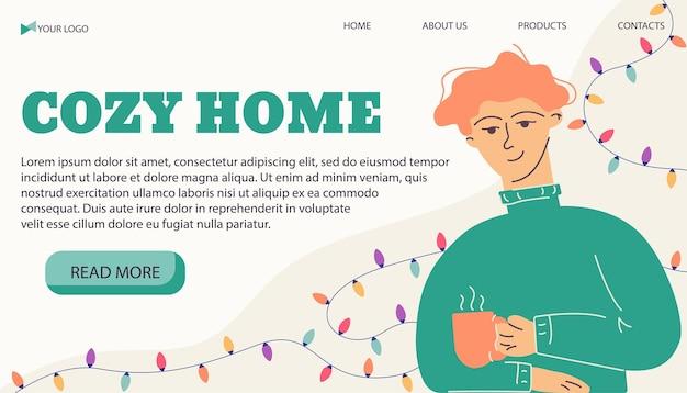 Modèle de bannière d'illustration vectorielle homme à la maison confortable avec une tasse dans un style plat
