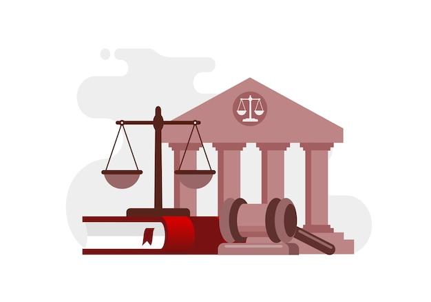 Modèle de bannière d'illustration vectorielle plat cabinet d'avocats