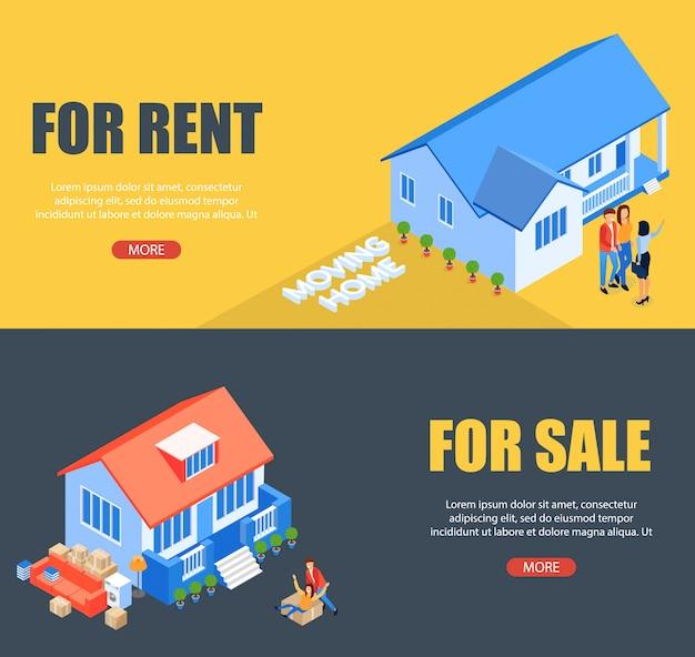Modèle de bannière illustration vectorielle pour le loyer et la vente