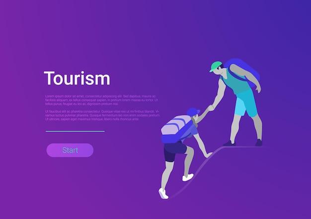 Modèle de bannière d'illustration vectorielle de style plat tourisme randonnée