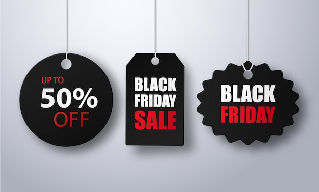 Modèle de bannière d'illustration de vente vendredi noir