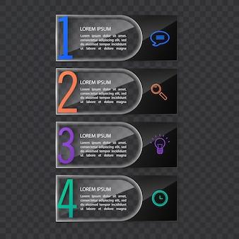 Modèle de bannière d'infographie en verre ou concept d'entreprise de style brillant avec 4 options