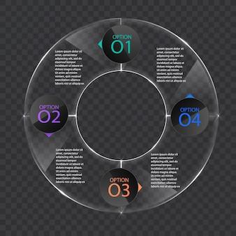 Modèle de bannière d'infographie en verre ou style brillant, concept d'entreprise avec 4 options, format vectoriel