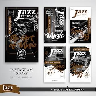 Modèle de bannière instagram stories du festival de jazz ou de musique