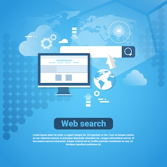 Modèle de bannière internet avec un concept de recherche web sur l'espace de copie