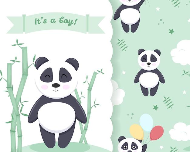 Modèle de bannière d'invitation de douche de bébé, carte vert clair