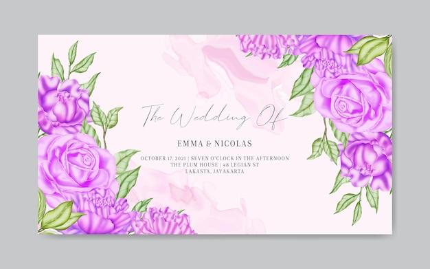 Modèle de bannière d'invitation de mariage floral aquarelle