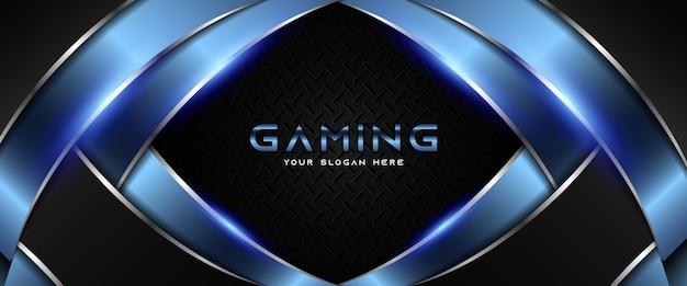 Modèle de bannière de jeu futuriste bleu et noir