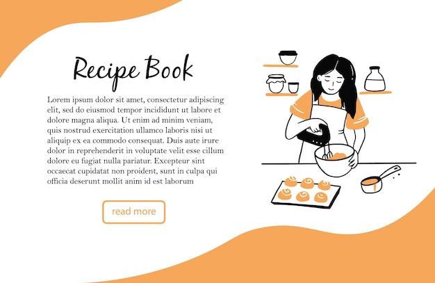 Modèle de bannière avec jeune femme dessinée à la main, cuisiner dans la cuisine