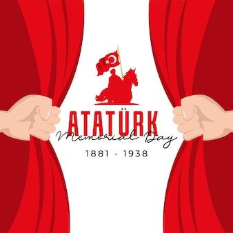 Modèle de bannière de jour commémoratif ataturk design plat