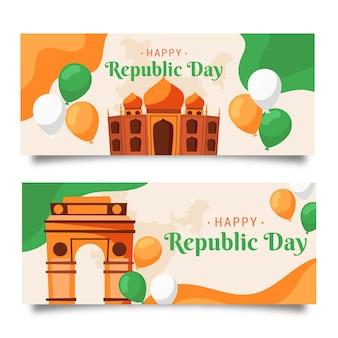 Modèle de bannière de jour de république indienne dessiné à la main