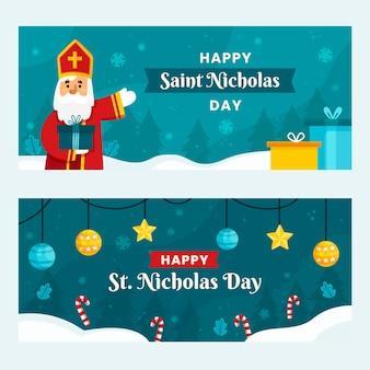 Modèle de bannière de jour de saint nicolas dessiné à la main