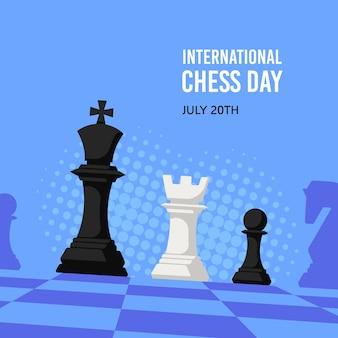 Modèle de bannière de la journée internationale des échecs, illustration plate