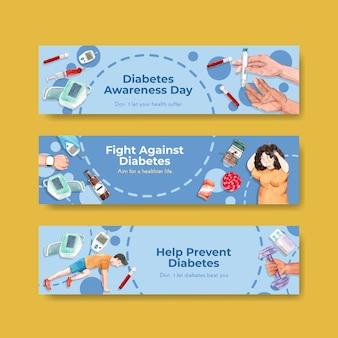 Modèle de bannière avec la journée mondiale du diabète pour la publicité et le marketing aquarelle