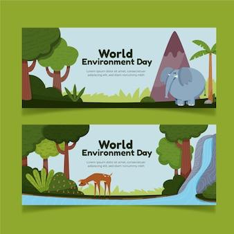 Modèle de bannière de la journée mondiale de l'environnement dessiné à la main