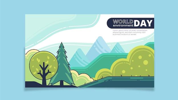 Modèle de bannière de la journée mondiale de l'environnement plat
