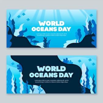 Modèle de bannière de la journée mondiale des océans design plat