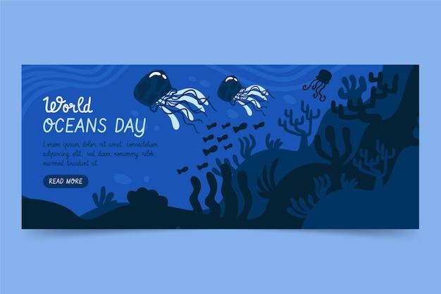 Modèle de bannière de la journée mondiale des océans dessinés à la main