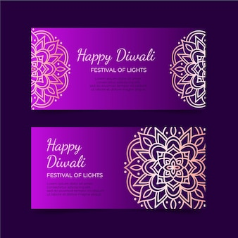 Modèle de bannière joyeux diwali dans des tons violets