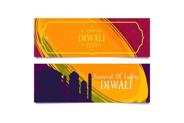 Modèle de bannière joyeux diwali avec silhouette de mosquée