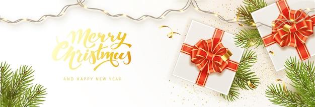 Modèle de bannière joyeux noël et bonne année. fond de vacances, affiche, carte de voeux, en-têtes pour site web.