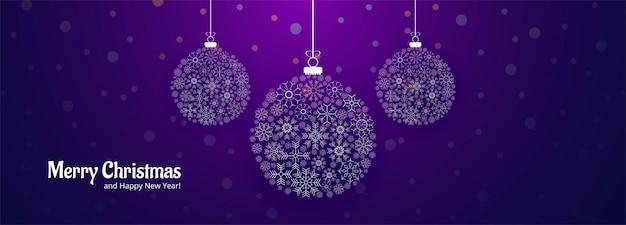 Modèle de bannière joyeux noël flocons de neige boule décorative