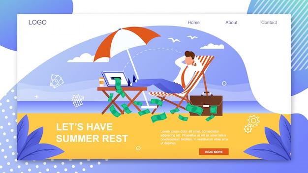Modèle de bannière de lettrage avec repos d'été