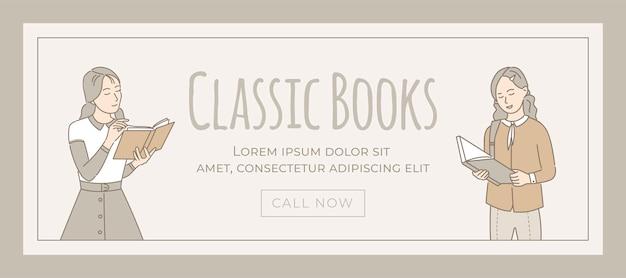 Modèle de bannière de livres classiques. filles lisant des livres, appréciant les romans.