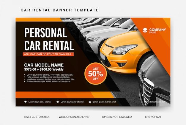 Modèle de bannière de location de voiture