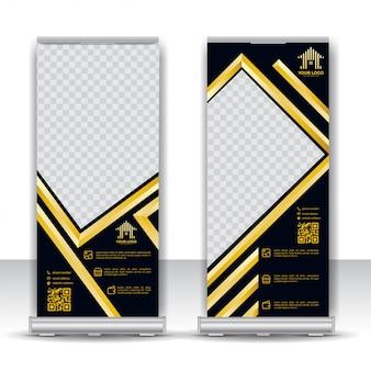 Modèle de bannière de luxe gold roll up
