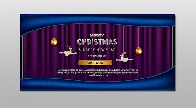 Modèle de bannière de luxe joyeux noël promotion vente offre spéciale