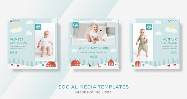 Modèle de bannière de magasin de bébé pour la vente d'hiver.