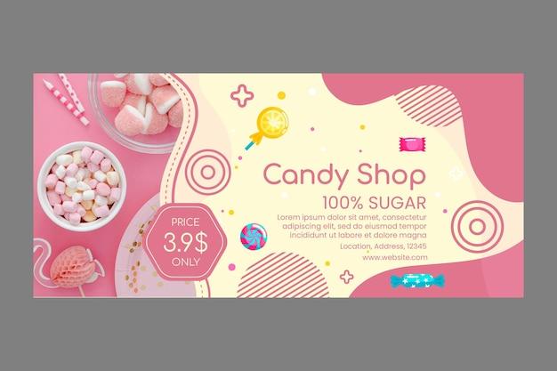 Modèle de bannière de magasin de bonbons