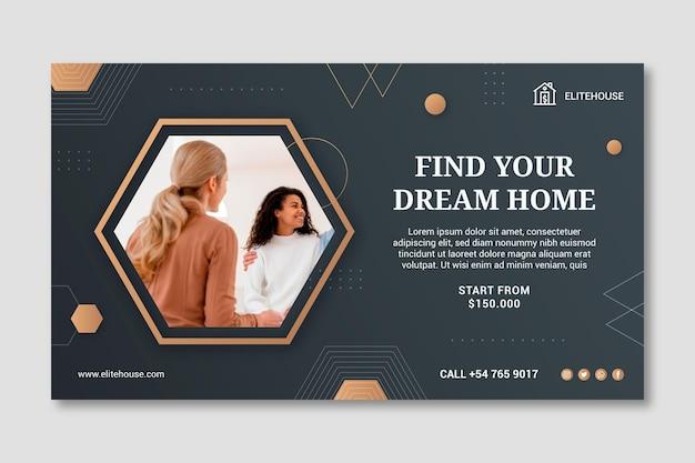 Modèle de bannière de maison de rêve immobilier