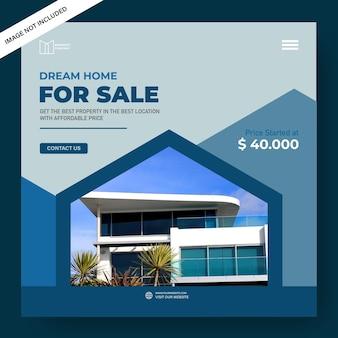 Modèle de bannière de maison à vendre