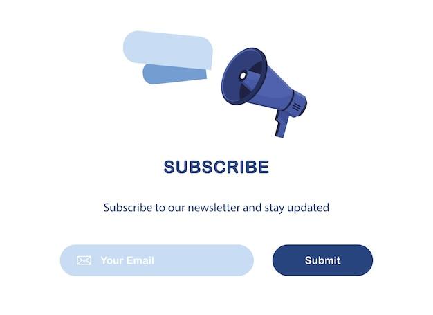 Modèle de bannière de marketing par courrier électronique avec haut-parleur pour l'abonnement à la newsletter