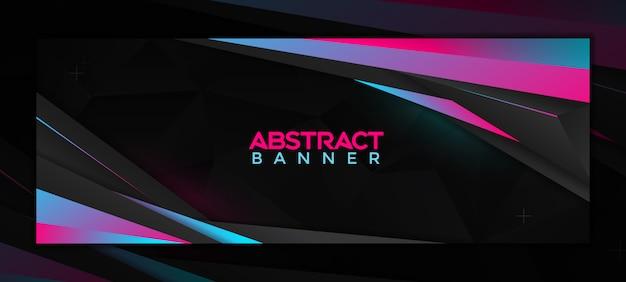 Modèle de bannière de médias sociaux abstrait moderne avec couleur dégradé néon