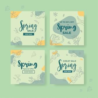 Modèle de bannière de médias sociaux de la collection de printemps