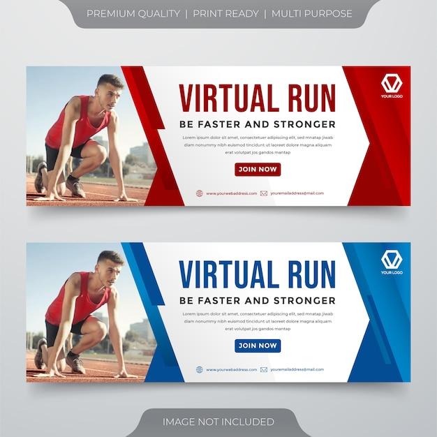 Modèle de bannière de médias sociaux de course virtuelle