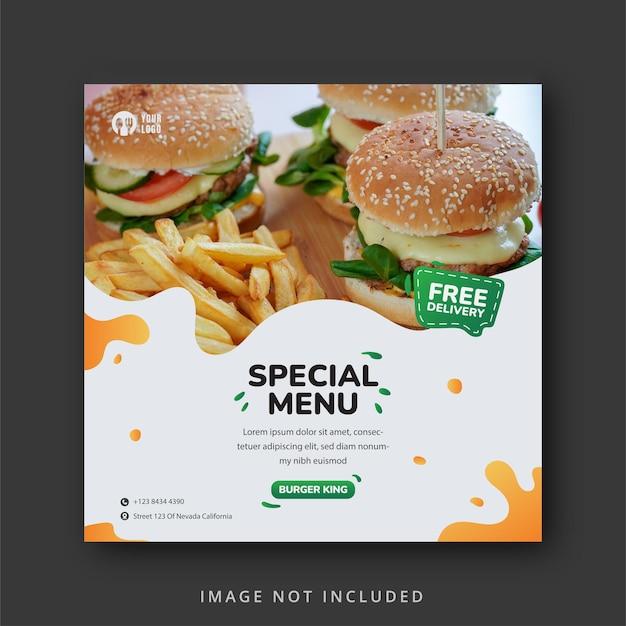 Modèle de bannière de médias sociaux de délicieux burger et menu alimentaire