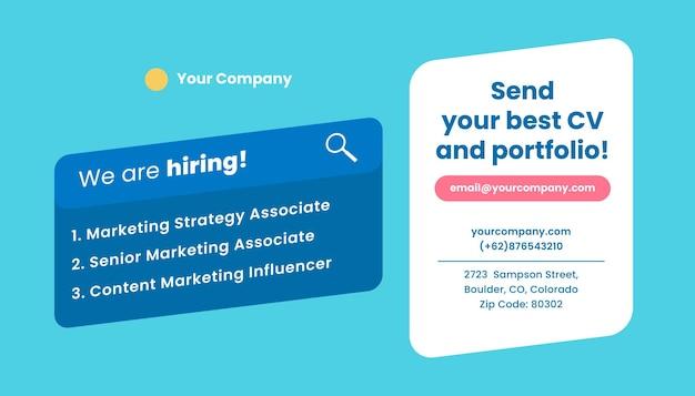 Modèle de bannière de médias sociaux d'embauche. annonce de recrutement ouverte.