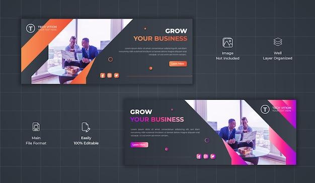 Modèle de bannière de médias sociaux d'entreprise créative avec couverture facebook