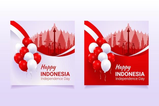 Modèle de bannière de médias sociaux de la fête de lindépendance de lindonésie 17 août