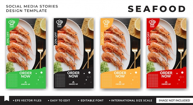 Modèle de bannière de médias sociaux de fruits de mer pour restaurant