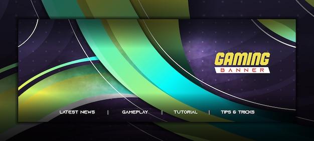 Modèle de bannière de médias sociaux gaming e sport avec dégradé jaune vert