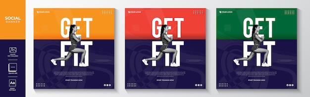 Modèle de bannière de médias sociaux de gym fitness