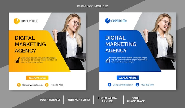 Modèle de bannière de médias sociaux de marketing numérique