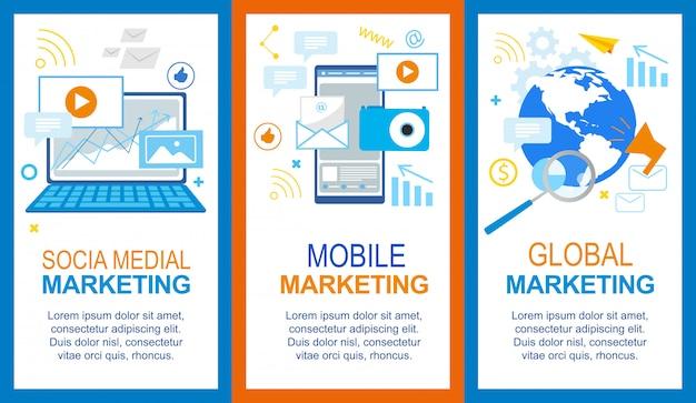 Modèle de bannière de médias sociaux mobile global marketing set.