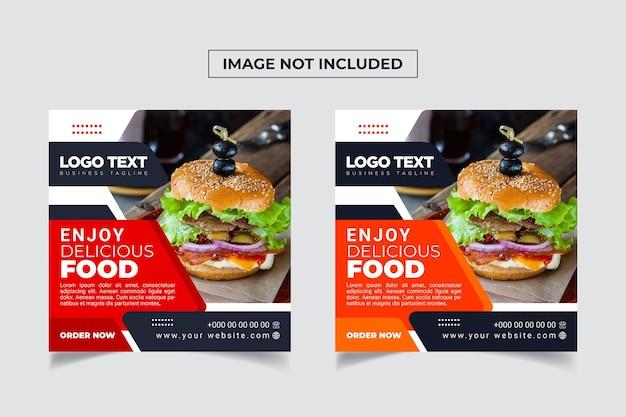 Modèle de bannière de médias sociaux de nourriture délicieuse