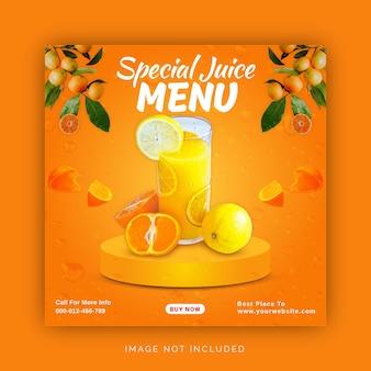 Modèle de bannière de médias sociaux pour le menu spécial jus instagram ad